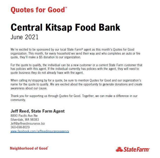 State Farm is partnering with Central Kitsap Food Bank